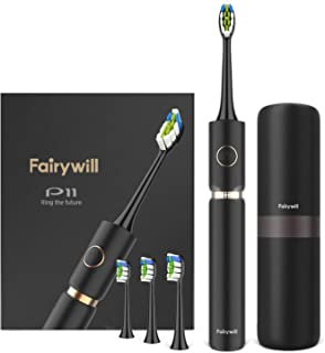 Fairywill P11 Sonic Electric Toothbrush for Adults, Innovative Ring Lighting Tech, Turbo Clean with 62,000 VPC Motor, Rechargeable Toothbrush Waterproof IPX7, 4 Brush Heads Travel Case, Black Series
