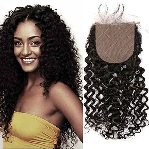 Sent Hair 4x4 Silk Base Lace Closure with Baby Hair Free Part Curly Wave Human Hair Closure Bleached Knots Brazilian Virgin Hair Natural Color 18 inch