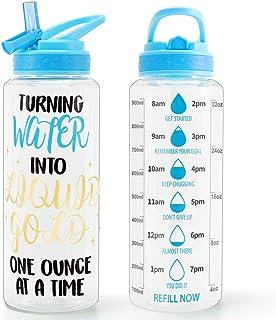 Home Tune 32oz Motivational Water Bottle with Straw & Time Marker, BPA Free Tritan & Dustproof Flip Straw & Leak Proof & C...