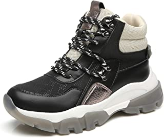Fashion Chunky High-top Sneakers for Women Hiking Boots Outdoor Lace Up Shoes with Platform