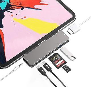 Adattatore USB C HUB per iPad, 7 in 1, adattatore USB di tipo C con connettore per cuffie AUX di controllo del volume audi...