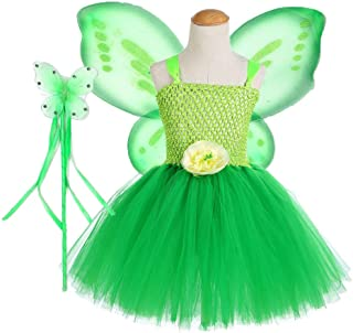 Tutu Dreams Green Fairy Princess Costumes for Girls 1-12Y Wings Wand Outfit