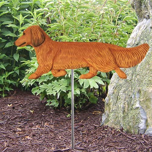 RED Longhair Dachshund Garden Stake Opening Manufacturer OFFicial shop large release sale by Park Michael