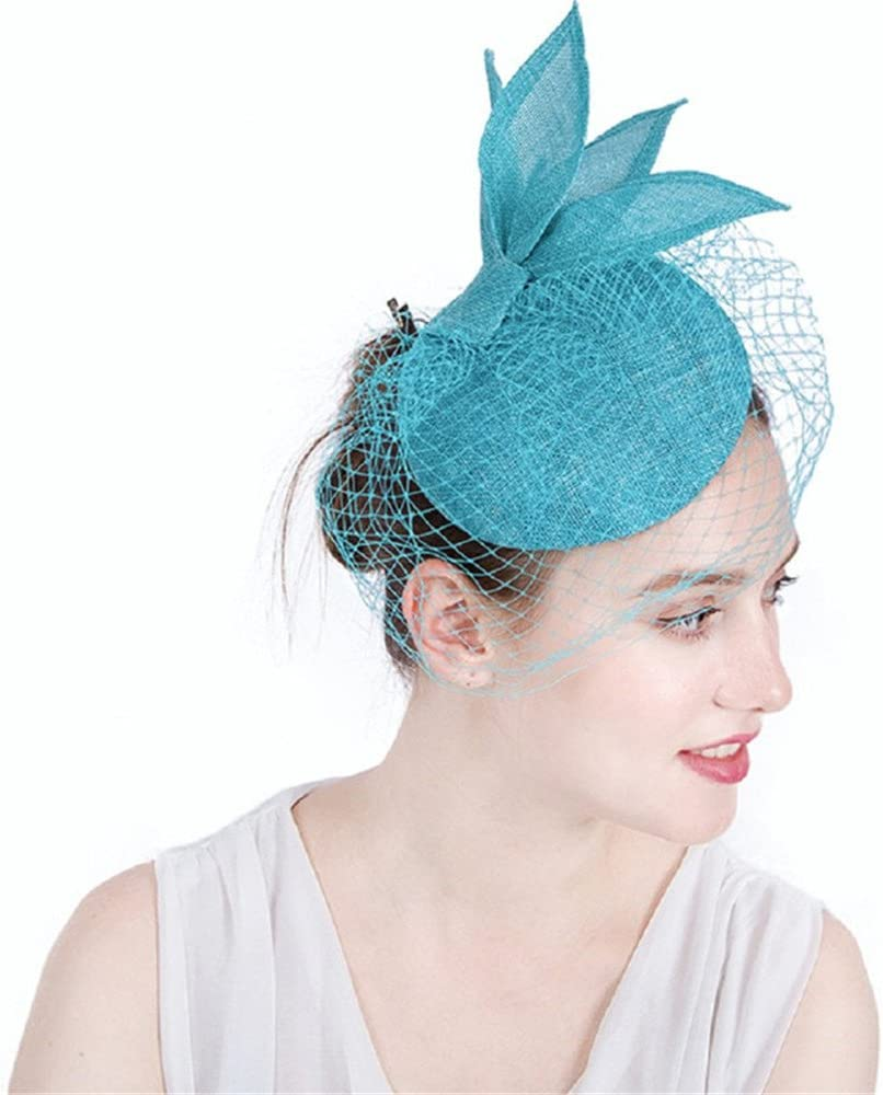 Hat Flower Feather Headband Fascinator Wedding Headwear Race Royal Ascot Cocktail Tea Party Derby Hat for Women Accessories (Color : Blue)