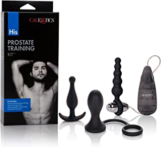 CalExotics His Prostate Training Kit - Vibrator Egg Bullet with Anal Pleasure Probes – Adult Fetish Beads Sex Toy for Couples – Male Enhancement Ring - Black