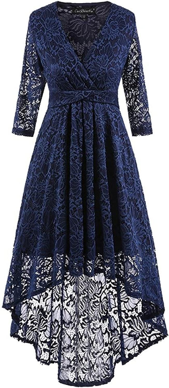 GJX Women Vintage Lace Cocktail Dresses Slim Waist With 3 4 Long Sleeve Club Party Skirt SXXL