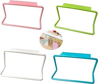 Zollyss 2 Pc Towel Rack Hanging Holder Organizer Bathroom Kitchen Cabinet Cupboard Hanger,Multicolor