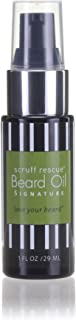 SCRUFF RESCUE Beard Oil - Signature Scent, 1 fl oz, Conditioning and Moisturizing, Honest Organic Jojoba, Grape Seed, Castor OIls, Spill-Proof Pump, Scent of Cedar, Bergamot & Benzoin, No Synthetics