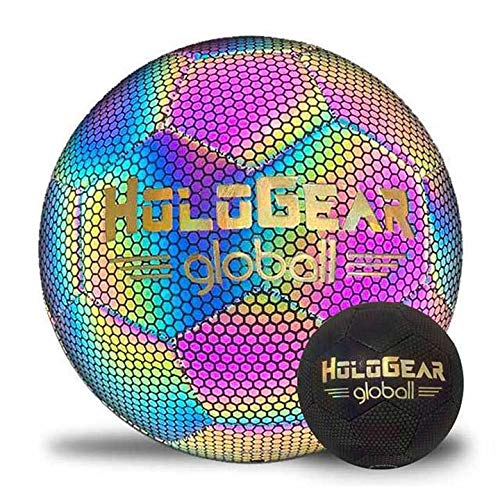 HoloGear Holographic Glowing Reflective Soccer Ball - Light Up Camera Flash Holographic Soccer Ball - Hoop Gifts Toys for Kids Boys and Girls - Perfect Toy for Night Game (Multi-Color Glow)