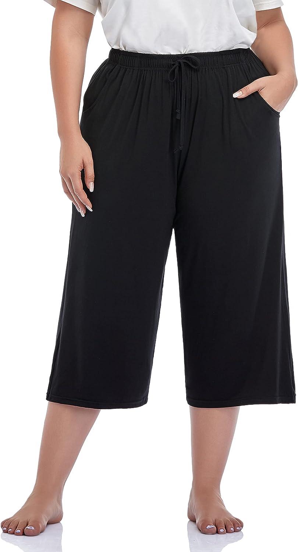 ZERDOCEAN Women's Plus Size Wide Leg Casual Lounge Pants Comfy Capris Relaxed Pajama Bottoms Drawstring Pockets
