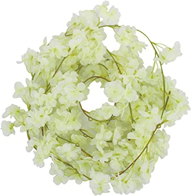 Mybbshower 12 Ft Artificial Cherry Blossom Silk Flower Garland Ivory Hanging Vine for Wedding Girl Birthday Party Home Decoration