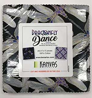 Dragonfly Dance Purple 5X5 Pack 42 5-inch Squares Charm Pack Benartex