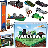 Spawn Character Cars Compatible with Minecraft 5-Pack Zombie Wagon + Spider Truck + Creeper + Skeleton Mob Racer + Enderman Black + Compatible with Lego Alex Defense Mini Brick + Track Set 3 Items