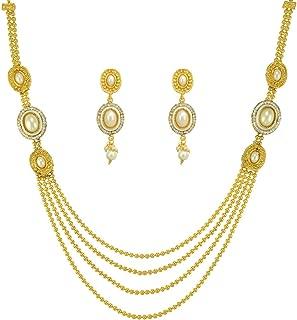 Pearl White Indian Kundan Jewelry Set for Women Girls Long Rani Haar Bridal Necklace Indian Earrings