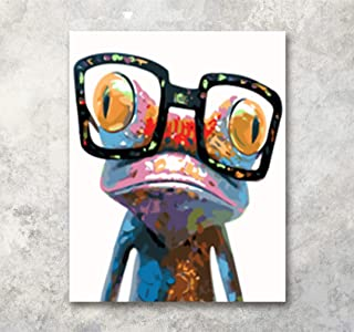 LB Frog Wearing Glasses Canvas Wall Art for Framed Watercolor Animal Painting Canvas Print Wall Decor Living Room Bedroom Dining Room Home Decoration Ready to Hang,16x20 inches