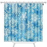 TKS MITLAN Schneeflocken Duschvorhänge für Badezimmer Frozen Weiß Schneeflocken auf blauem Hintergr& Polyester Wasserdicht Duschvorhang mit Haken 183 x 183 cm