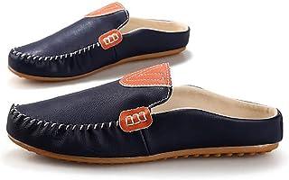 funmoon PU Hommes Chaussures Bateau Mocassin Plat Bleu