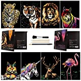 Wbeng Scratch & Sketch Art Paper A4 para niños y Adultos, Rainbow Painting Night View Art & Craft, 8 Hojas de Scratch Cards y Scratch Drawing Pen, Clean Brush (Bestia / Animal)