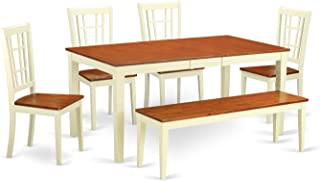 NICO6-WHI-W 6-Pc Dining room set for 4-Table with Leaf and 4 Kitchen Chairs plus bench