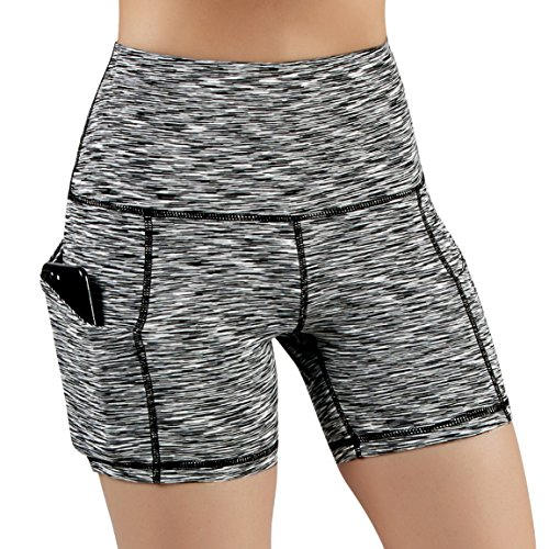 """ODODOS Women's 5"""" High Waist Biker Shorts with Pockets, Tummy Control Non See Through Weokout Sports Athletic Running Yoga Shorts, SpaceDyeBlack, Small"""