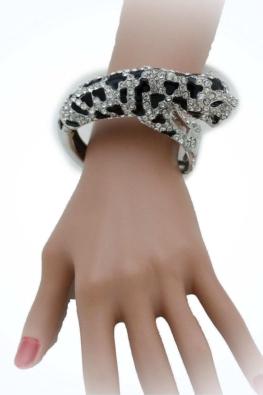 Women Silver Metal Bling Cuff Bracelet Jewelry Tiger Fancy Dress