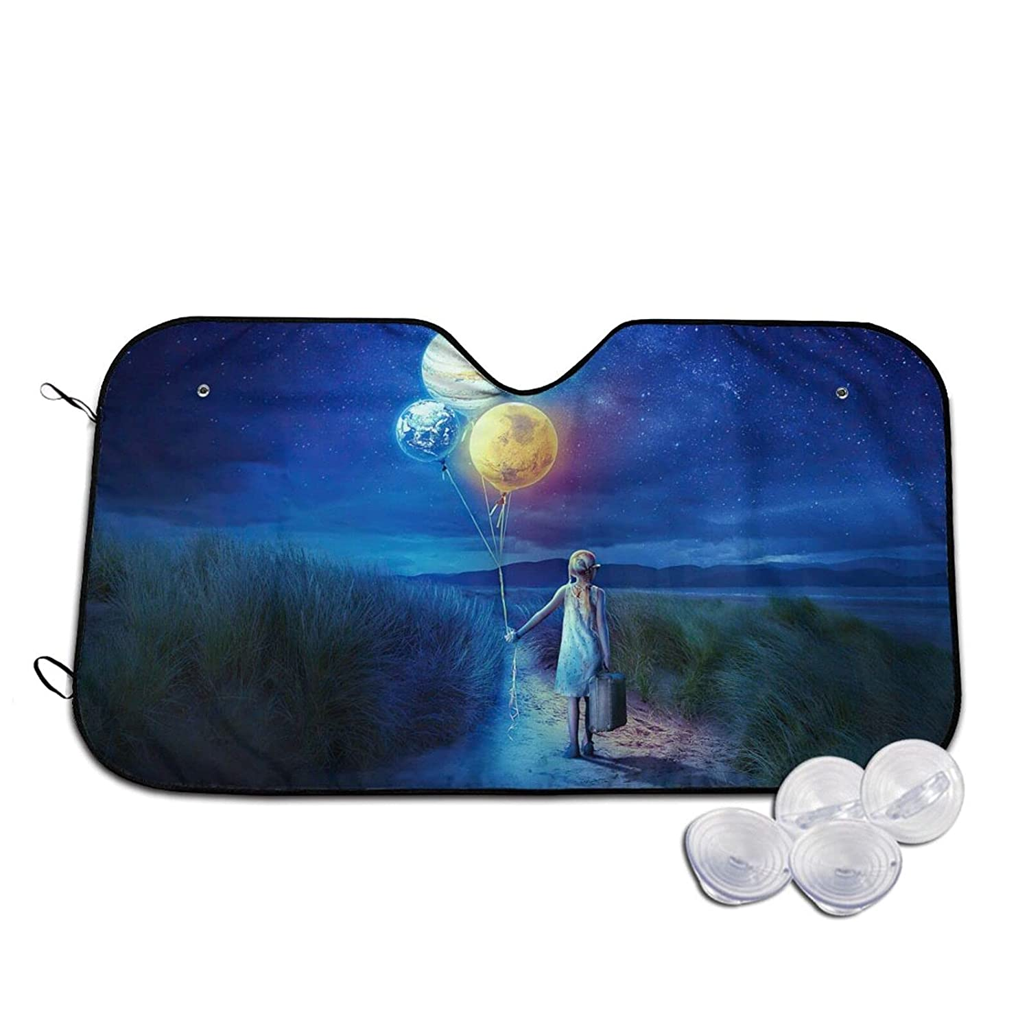 YXYXN Max 67% OFF Branded goods Girl with Earth Balloon Under Sun Car The Starry Sky Blue