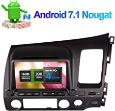 Flynavigo 8 Inch Android 7.1 Car Radio Stereo CD DVD Player with GPS Navigation System for Honda Civic 2006-2011 RHD Support AM/FM/Cam-In/Bluetooth/Mirror Link/WIFI/3G/1080P Video/AV Output