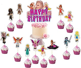13 PCS Sandbox Game Cake Topper For Girl ,Sandbox Game Party Supplies Game Theme Happy Birthday Party Cupcake Decorations
