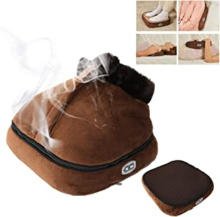 2 IN 1 Unisex Velvet Foot Massager, Electric Heated Warmer & Massager with Rolling Kneading Massage for Back, Foot, Legs (Brown)