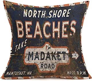 Pillow Covers Retro Background with North Shore Beaches Quote Lettering Throw Pillow Cushion Cover Home Sofa Couch Decorative Square 18 x 18 Inches Pillowslip (Madaket)