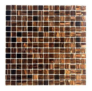 3/4 x 3/4 Copper Gold Glimmer Glass Mosaic