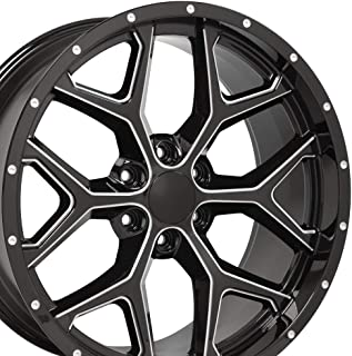 OE Wheels 22 Inch Fits Chevy Silverado Tahoe GMC Sierra Yukon Cadillac Escalade CV98 Black Mach'd Lip 22x9.5 Deep Dish Rim Hollander 5668