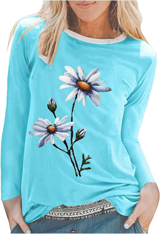 GOODTRADE8 Women's Casual Printing Crew Neck Long Sleeve Tops Loose T-Shirt Summer Tops Tee Shirts Blouse