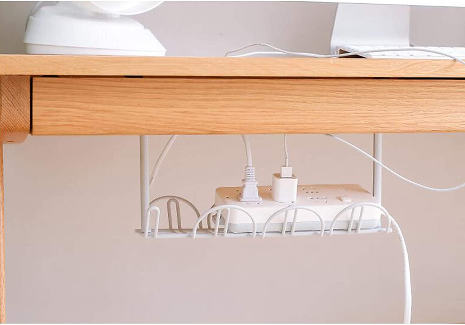 Under Desk Cable Management Tray 12.6 inch Under Desk Cable Organizer Office Supplies White