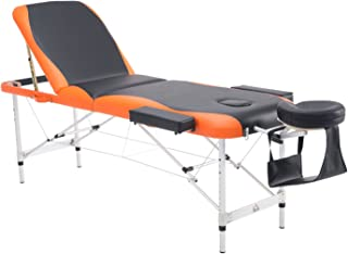 "HOMCOM 73"" 3 Section Foldable Massage Table Professional Salon SPA Facial Couch Bed (Black/Orange)"