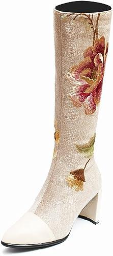 DYF Chaussures Bottes à talon Style rugueux National Broderie Pearl Plush,couleur abricot,41