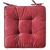 Mkuha 4er Set Stuhlkissen Sitzkissen mit Haltebändern, Cord Sitzauflage für Innen, Gestepptes...