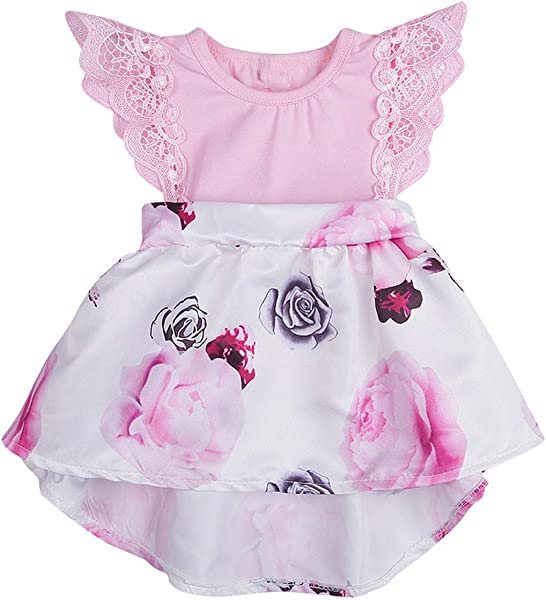 Ivyi Baby Girls Dress Floral Print Lace Princess Dresses Cotton Sleeveless Dress 190325 Pink United Ates