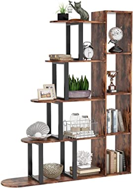 Tribesigns 5-Tier Ladder Bookshelf Rustic Bookcase, 5 Shelf Corner Ladder Shelf Vintage Industrial Storage Shelf Organizer for Living Room, Home Office (Rustic Brown)