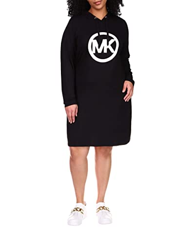 MICHAEL Michael Kors Plus Size Long Sleeve Circle MK Logo Hoodie Dress (Black) Women