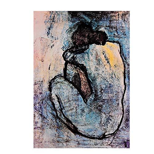 Blauer Akt Von Pablo Picasso Ölgemälde Kunstdrucke Auf Leinwand Vintage Poster Abstrakte Wand Bilder Bilder Für Wohnzimmer Wohnkultur 40 × 60cm Rahmenlos