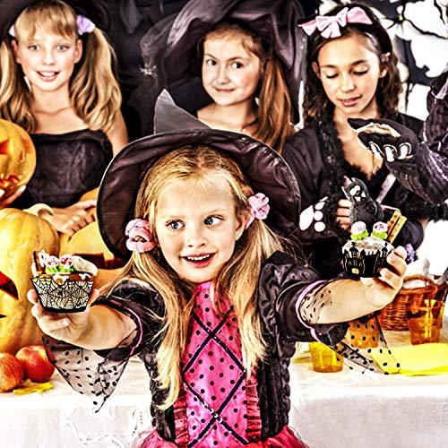Herefun 25pcs Halloween Cupcake Wrapper 5 Modelli Nero, Torta Involucro Halloween Cupcake Decorazioni Cake Wrapper, Cupcake Decoration per Halloween, Festa di Compleanno Ragazzo