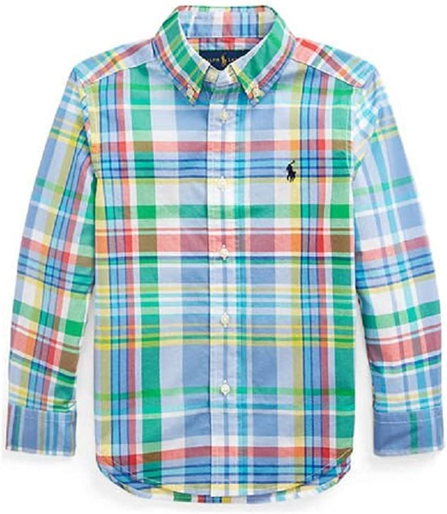 Polo Ralph Lauren Boys Plaid Cotton Poplin Button Down Shirt (BlueMulti, 7)
