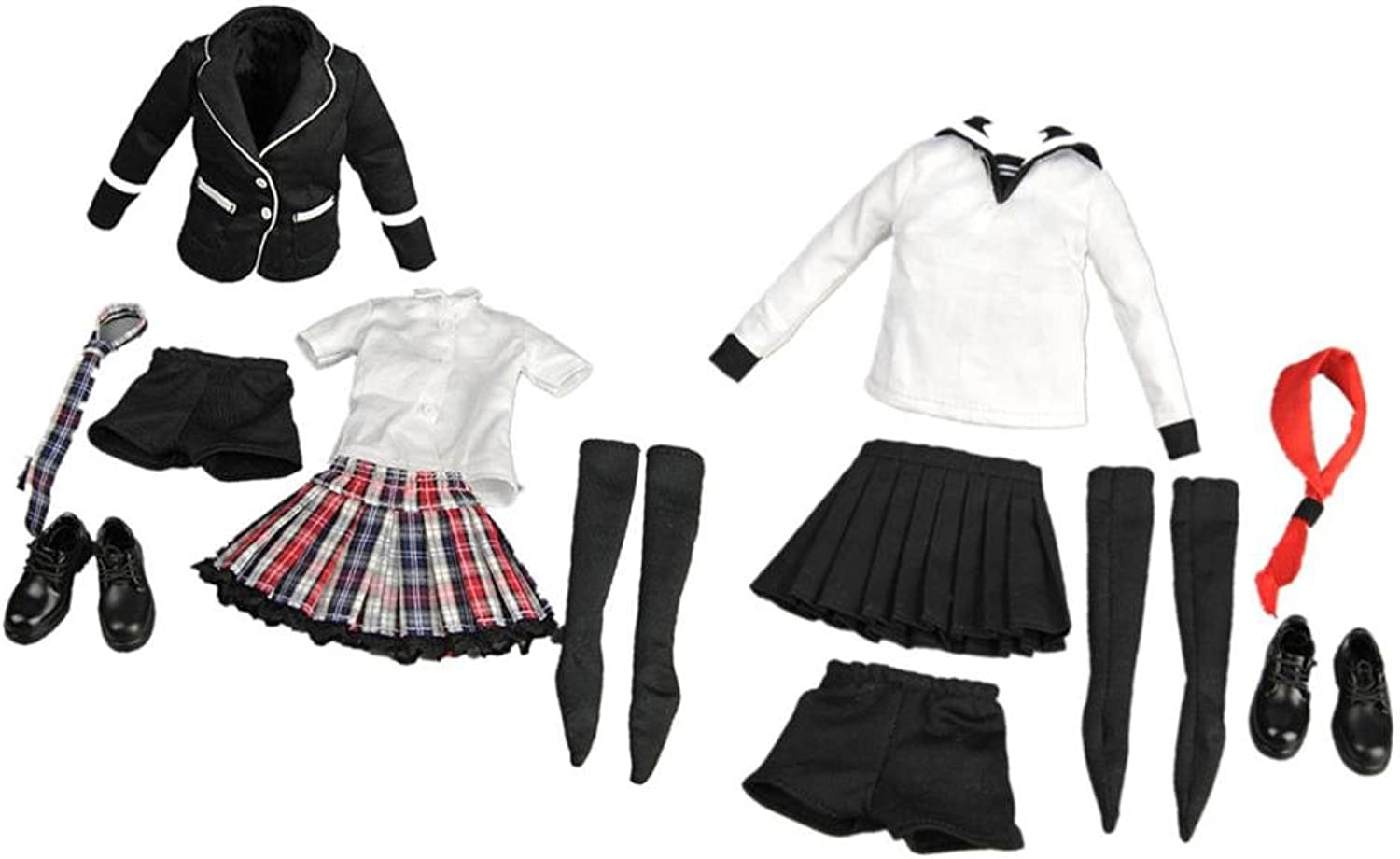 MagiDeal 2 Sets 1 6 Scale Women Female Clothes School Uniform for 12'' Action Figures Accessories