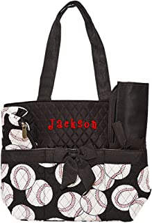 Personalized Boys and Girls Infants Quilted Diaper Tote Bags | Customize on Order (Baseball)