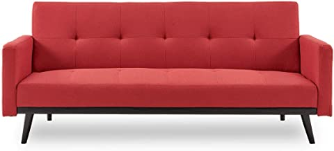Sarantino 3 Seater Modular Linen Fabric Sofa Bed Couch Armrest Furniture Lounge Red