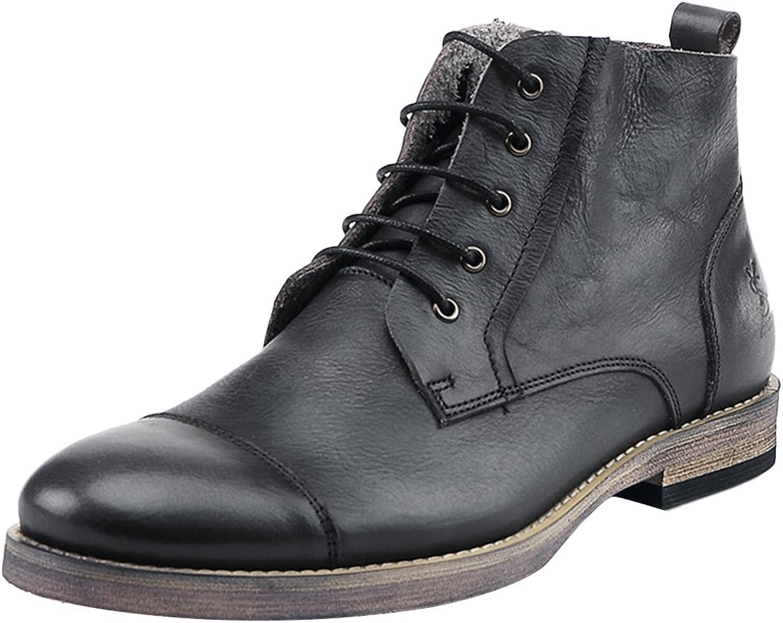 Insun Men's Black Leather Laces Chukka Boots 11