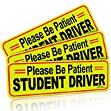 CARBATO Student Driver Magnet Safety Sign Reflective Vehicle Bumper Sticker for New Drivers, 10 x 3.5 Inch, Pack of 3