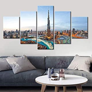 QQYYYT Multi-split panel city view city dubai view painting canvas print image 5 sheets and elongated artwork painting pic...