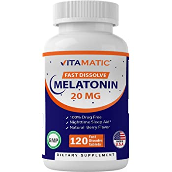 Vitamatic Melatonin 20mg Tablets | Vegetarian, Non-GMO, Gluten Free | HIGH Potency 20 MG | Natural Berry Flavor | 120 Count